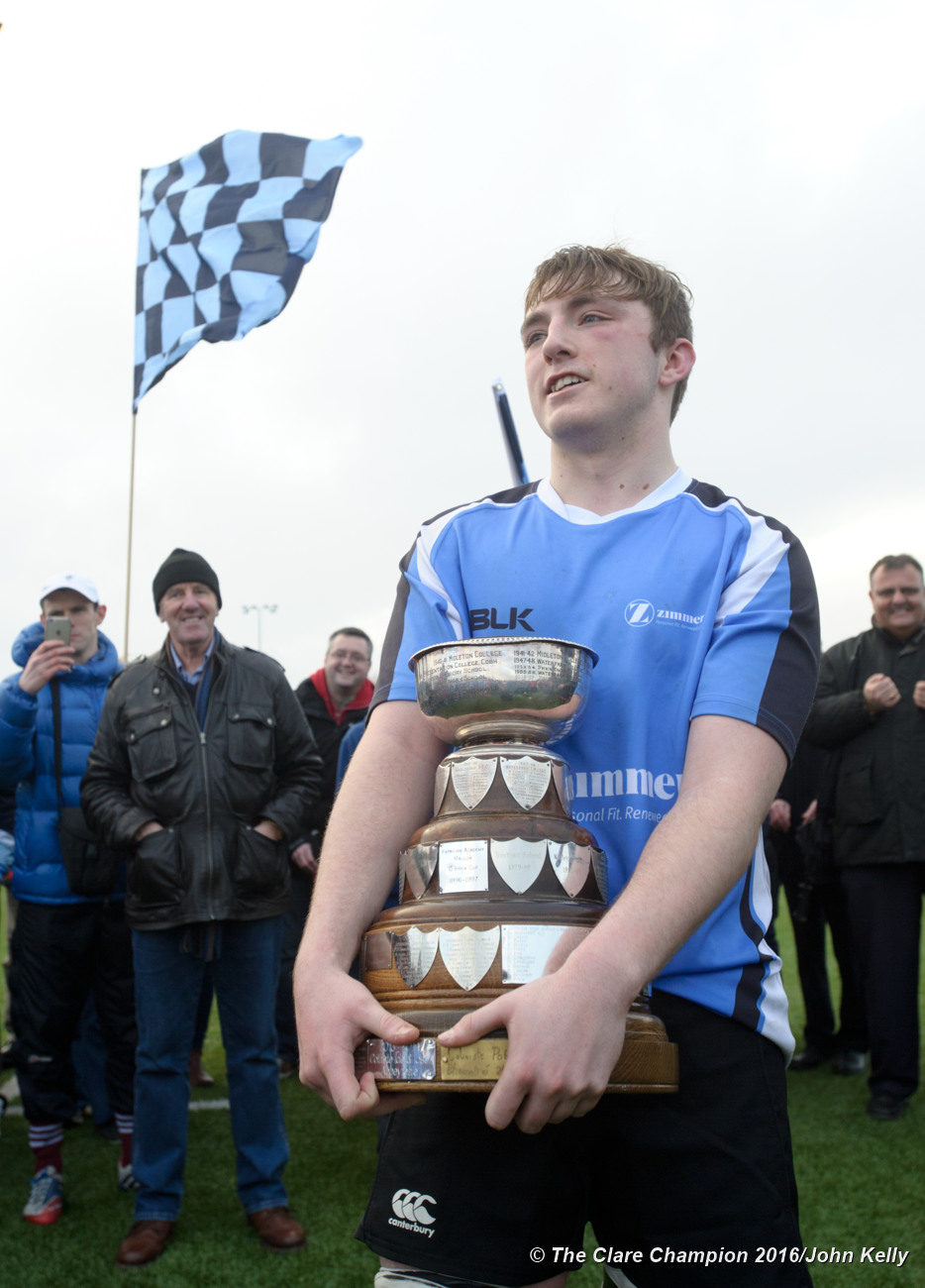 Captain Alan Mc Inerney of St Caimins with the cup following their win over Abbey CBS in the Schools U-19 Cup.