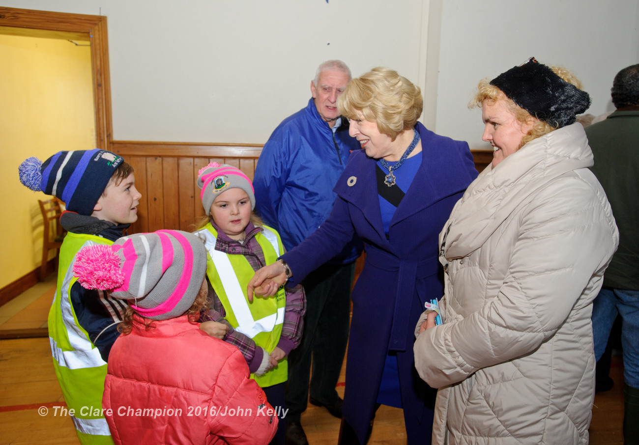 Mrs Sabina Higgins chatting with Eve, Alex and Annabel O Flynn as well as their mother Catriona O Flynn and grandad Joe O Flynn during her visit with President Michael D. Higgins to Labane to meet the victims of flooding in the area. Photograph by John Kelly.