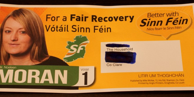 "Sinn Féin red faced over leaflet ""mistake"""