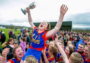 150416 St Annes Community College Killaloe captain Aoife Power celebrates victory with her teammates at The Ragg on Friday.Pic Arthur Ellis.