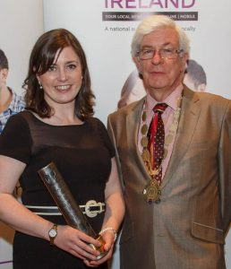 Nicola Corless with David Burke, president of Local Ireland. Photograph by Jeff Harvey