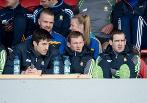 Darach Honan, Pat Kelly and Pat Donnellan were amongst the players sitting  it out during the All-Ireland Senior Championship Qualifier game against Laois in Ennis. Photograph by John Kelly.