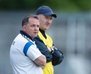 Davy Fitzgerald and Donal Óg Cusack, , on the sideline during their All-Ireland Senior Championship Qualifier game against Laois in Ennis. Photograph by John Kelly.