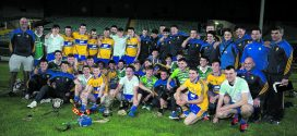 The victorious Clare intermediate hurlers at the Gaelic Grounds in Limerick on Wednesday evening. Photograph Arthur Ellis.