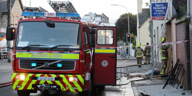 Emergency services at the scene of a fire on Market Street, Ennis.