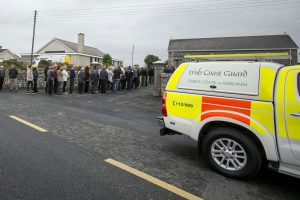 Mourners arriving at Liscannor church on Wednesday evening. Photograph by Arthur Ellis.