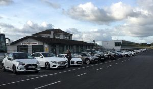Cars lined up for testing at Mondello Park.