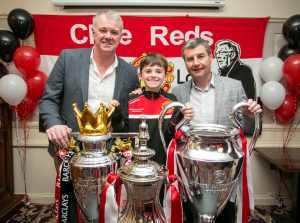 Former Man Utd stars Gary Pallister and Denis Irwin with Sean Hennessey (10). Photograph by Arthur Ellis.
