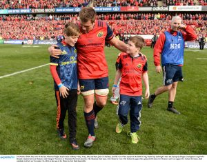 The sons of the late Munster Rugby head coach Anthony Foley, Tony, left, and Dan, with CJ Stander, Photograph by Seb Daly/Sportsfile
