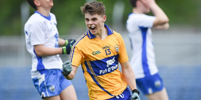 Ross O'Doherty of Clare celebrates his second half goal against Waterford during their minor championship game at Cusack Park. Photograph by John Kelly.