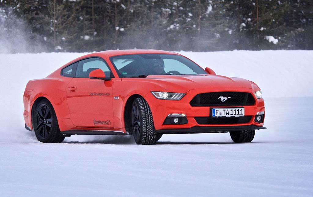 Having fun with a 5.0 litre V8 Mustang on the frozen lake.