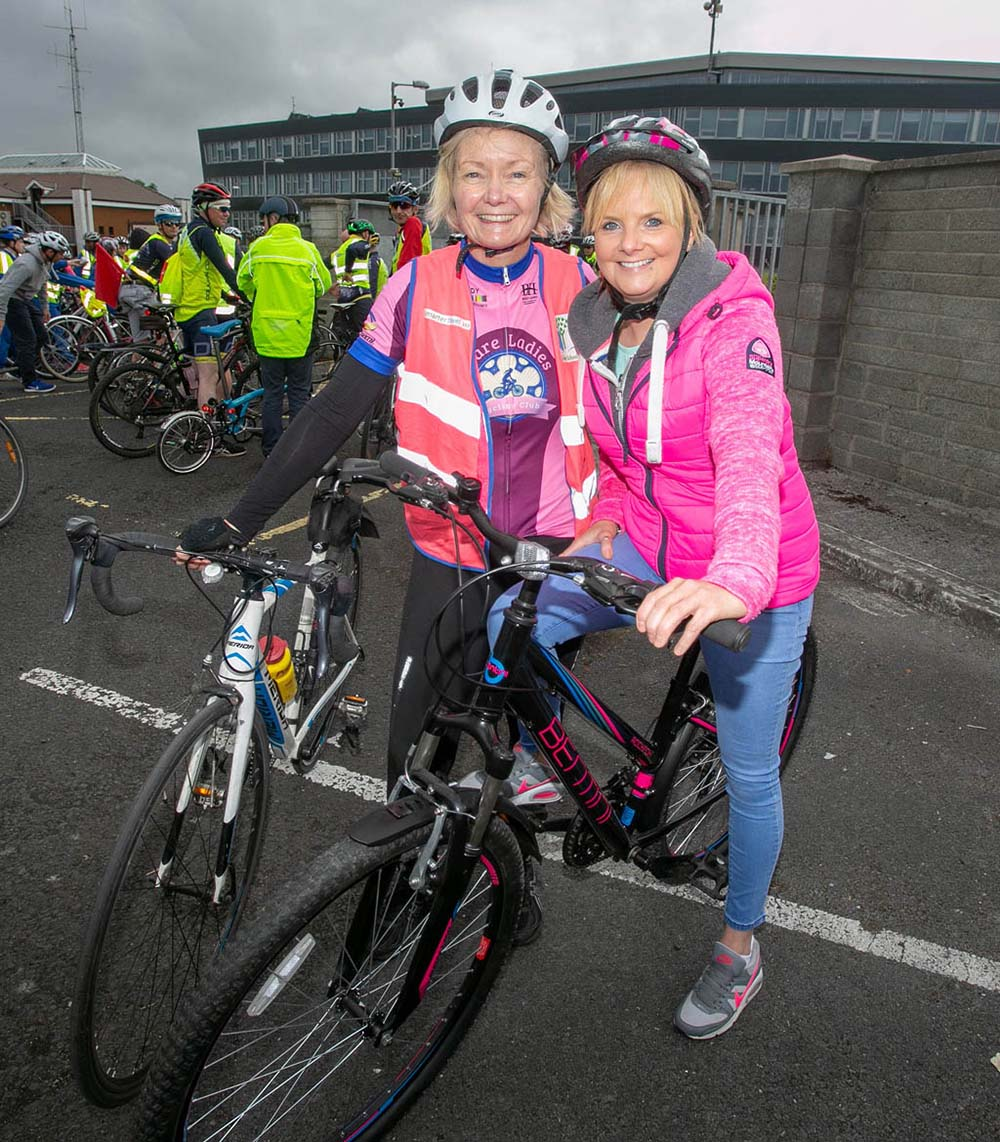 Louisa Casey, Clare Ladies Cycling Club and Olivia McMahon, Holy Family NS, at the School Cycle at Ennis Fire Station on Wednesday