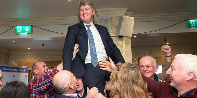 Michael McNamara, (Ind) is lifted on shoulders on his election at the Clare General Election 2020 count in The Falls Hotel, Ennistymon. Photograph by John Kelly.
