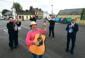 Members of the Carrigaholt Festival Committee; Annabel Mc Mahon, at front, with, back from left, Imelda Lynch of The Long Dock, , Christian Heta, Amigo's Caravan Park, Mark Carmody of Carmody's Bar and Mags Keane o Keane's Bar, who held a virtual online festival due to the cancellation of their main event because of the Corona Virus. Photograph by John Kelly